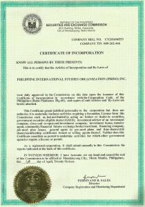 Certificate of Incorporation from the Philippines' Securities and Exchange Commission