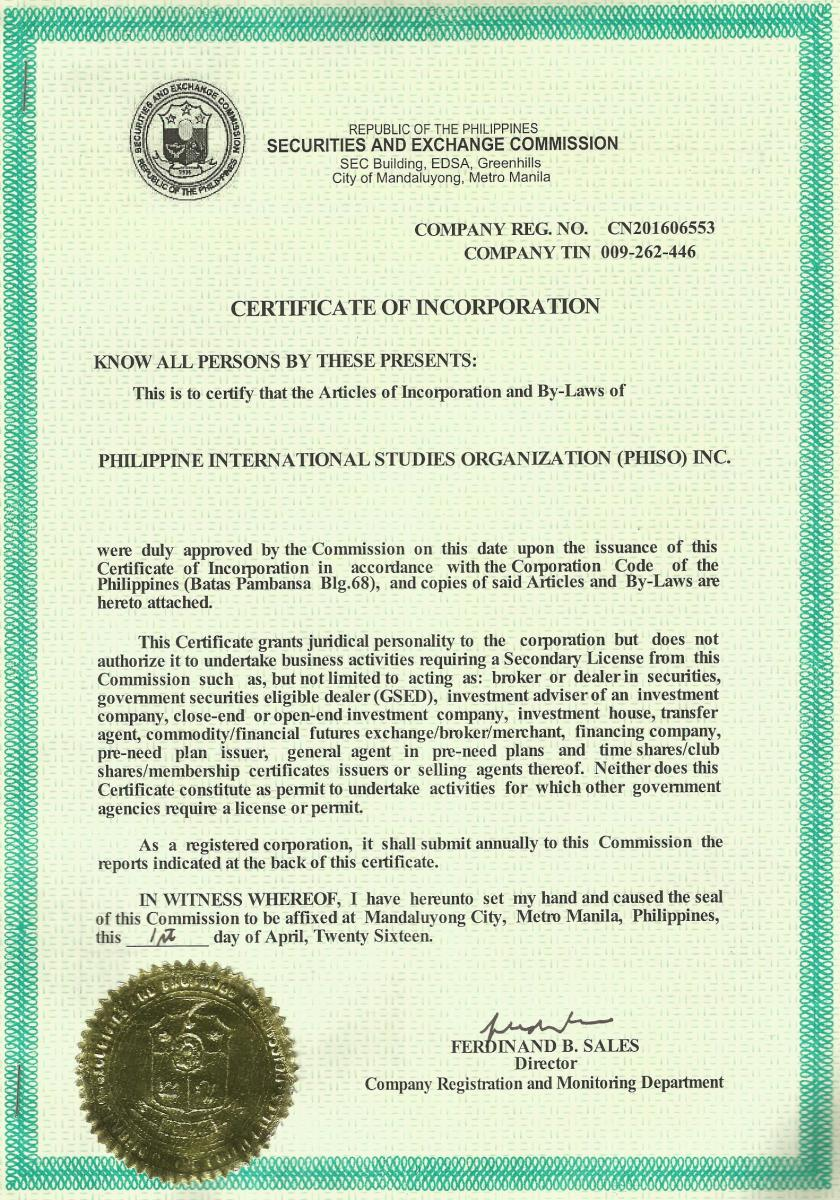 Certificate of incorporation from the philippines securities and certificate of incorporation from the philippines securities and exchange commission xflitez Image collections