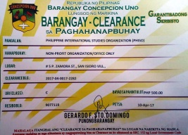 Barangay Clearance certificate