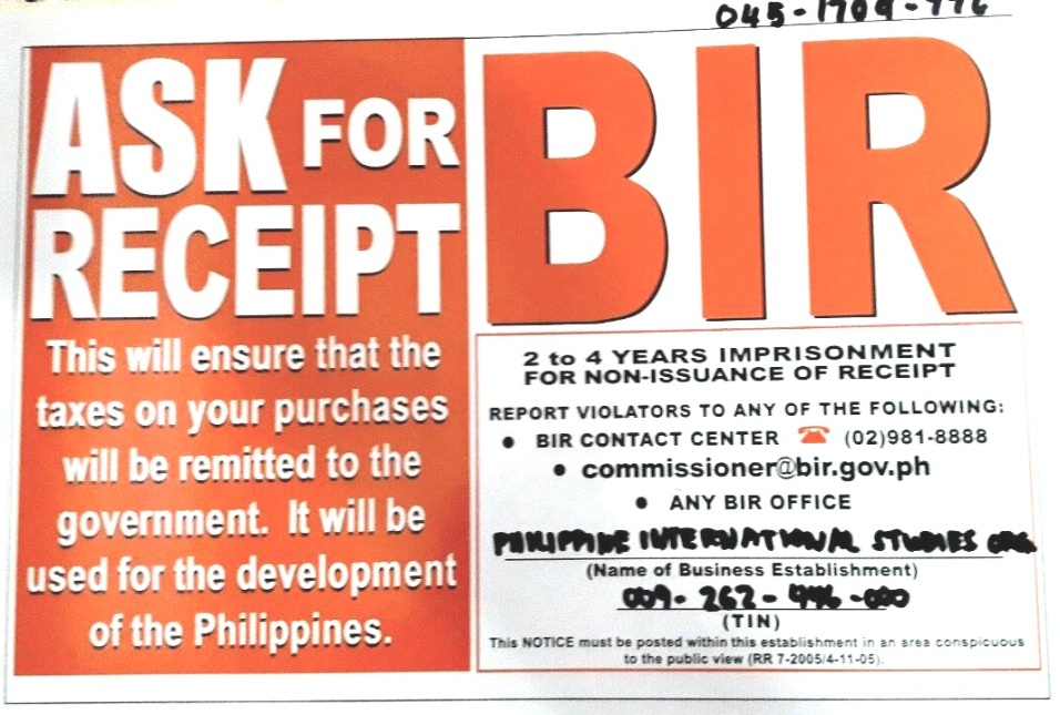 Permit from the Bureau of Internal Revenue
