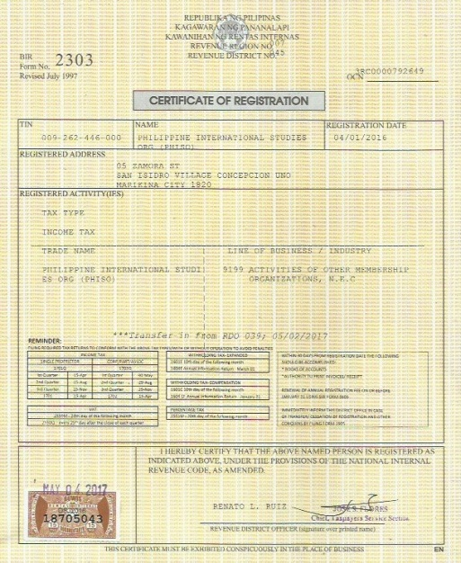 Certificate of Registration from the Bureau of Internal Revenue