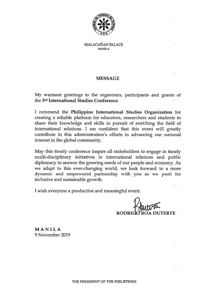 Message of President Rodrigo Roa Duterte for the 3rd International Studies Conference_Page_2_Image_0001